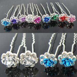 20pcs-Rose-Clear-Crystal-Bridal-Wedding-Hair-Pins-Clips-9-Colors