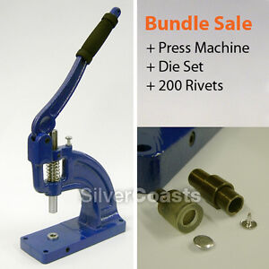 200 rivets press machine punch tool button fastener stud sewing leather craft ebay. Black Bedroom Furniture Sets. Home Design Ideas