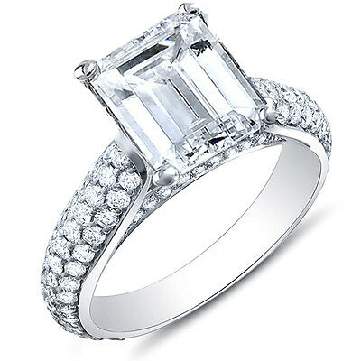 3.36 Ct. Emerald Cut Micro Pave Round Cut Diamond Engagement Ring GIA H,VS1 18K