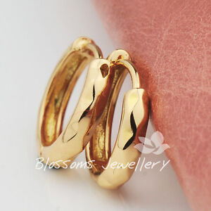 9K 9CT GOLD Filled Diamond PATTERN Round HOOP Huggie EARRINGS Solid ES437