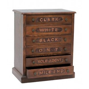 Beautiful-Reproduction-Antique-Wooden-Spool-Cabinet-6-Labeled-Drawers