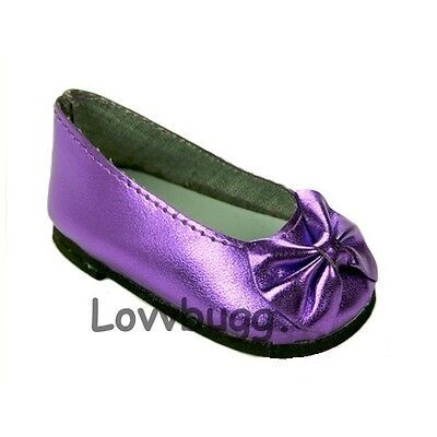 """Lovvbugg Purple Ballet Flats Bow for 18"""" American Girl or Bitty Baby Doll Shoes"""