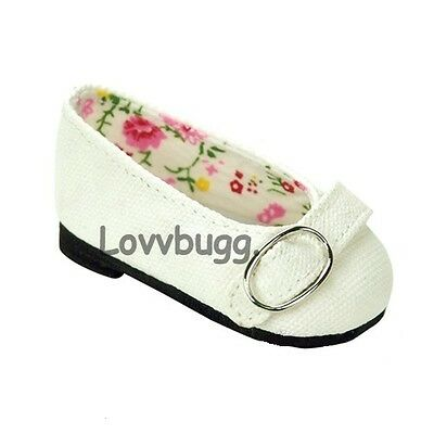 "Lovvbugg White Colonial Buckle Flats for 18"" American Girl or Bitty Baby Doll Shoes"