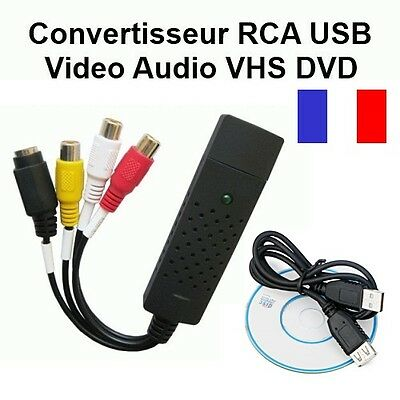 Adaptateur Convertisseur Rca Usb Video Audio Vhs Hi8 Dvd Caméscope Magnétoscope