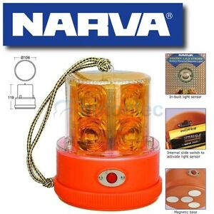 NARVA-LED-STROBE-LIGHT-BEACON-AMBER-BATTERY-POWERED-PORTABLE-MAGNETIC-NEW-85320A