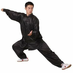 Chinese Kung Fu Suit Tai Chi Silk Uniform White/black