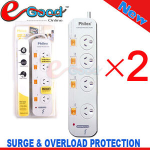 2x PHILEX 4 WAY SURGE PROTECTION,OVERLOAD PROTECTION 4 OUTLET POWER BOARD,AU