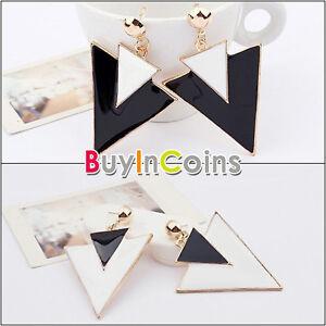 Women-Korea-Stylish-Black-White-Double-Triangle-Pattern-Hook-Earrings-HFAU