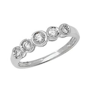 9ct-White-Gold-25pt-Diamond-Graduated-5-Stone-IIllusion-Set-Eternity-Ring