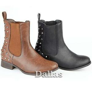 WOMENS-CHELSEA-BOOTS-NEW-LADIES-ANKLE-STUDDED-SMART-FLAT-BIKER-RIDING-SHOES-SIZE