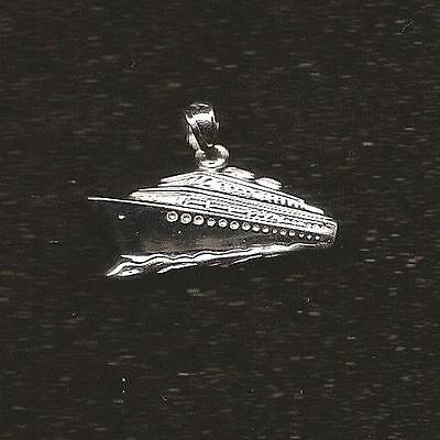 Sterling Silver CRUISE SHIP Pendant / Charm, Made in USA