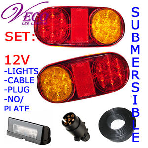 LED LIGHT+NUMBER PLATE+PIN PLUG+CABLE TRAILER BOAT KIT