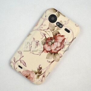 Luxury Pink Vintage Rose Flower Hard Leather Case Cover HTC Incredible 2/S S710e