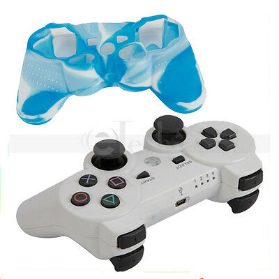 Wireless Bluetooth Controller White + Silicone Case Blue-White for Sony PS3 on Rummage