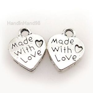 100x-New-Love-Heart-Alloy-Beads-Fit-Charms-Pendants-G91