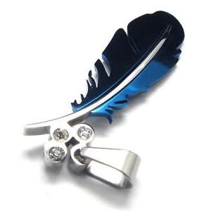 Blue-Stainless-Steel-Feather-Pendant-Necklace-Chain-048