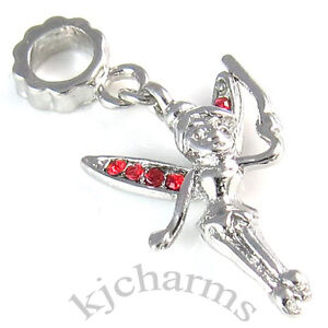 Tinkerbell Fairy Silver CZ Dangle European Charm Bead For Bracelet Necklace
