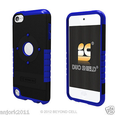 Apple Ipod Touch 5 Hybrid Case Dual Layer Skin Cover Accessory Black Blue