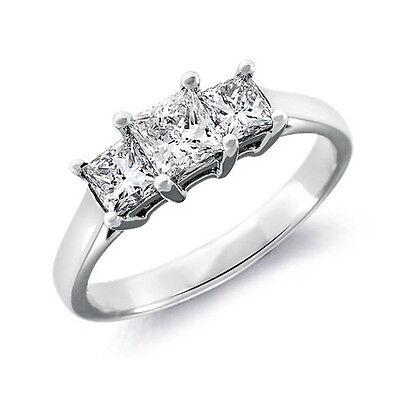1.38 CT PRINCESS CUT DIAMOND ENGAGEMENT RING 14K WHITE GOLD ENHANCED
