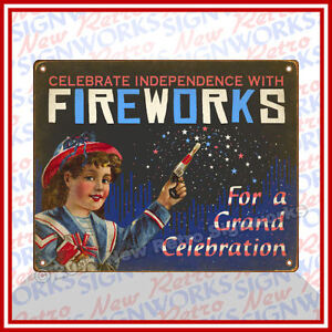 Fireworks-SIGN-Vintage-Antique-Style-Girl-Sparklers-Firecrakers-Independence-Day