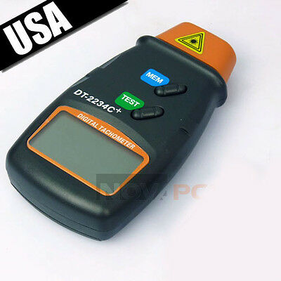 Digital Laser Photo Tachometer Non Contact Rpm Tach Meter Motor Speed Gauge Usa