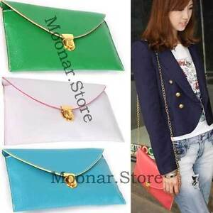Korea-Style-Womens-Envelope-Clutch-Chain-Purse-HandBag-Shoulder-Bag-12-Colors