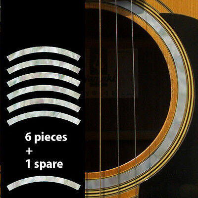 Rosette Stripe (White Pearl) Purflinng Sound hole Inlay Sticker Decals Guitar