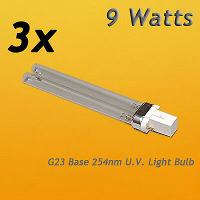 3pcs 9w 9 Watt Uv Uvc Pl-s9/tuv G23 Base Light Bulb