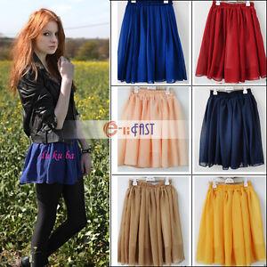 Fashion-Retro-High-Waist-Pleated-Double-Layer-Chiffon-Short-Mini-Pompon-Skirts