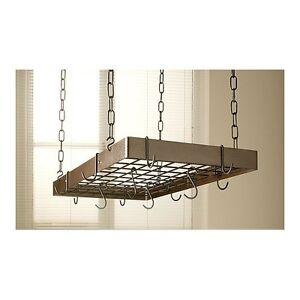 Pot Rack Iron Hanging Metal Hanger Pan Kitchen Mount Storage Pots Holder Copp
