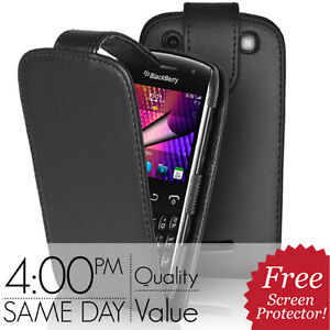 BLACK LEATHER CASE POUCH COVER & SCREEN PROTECTOR FOR BLACKBERRY CURVE 9360