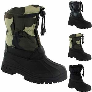 BOYS-WINTER-BOOTS-KIDS-SNOW-FUR-THERMAL-MUCKER-WATERPROOF-WELLINGTON-RAIN-BOOTS