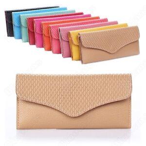 Womens-PU-Leather-Envelope-Wristlet-Clutch-Evening-Bag-Purse-Handbag-10-Colors