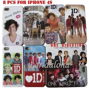 8pcs One Direction Hard Back Case Cover Skin For iPhone 4 4G 4s 1D New