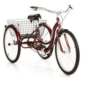 Black Cherry Schwinn Meridian Adult 26-Inch 3-Wheel Bike Bicycle
