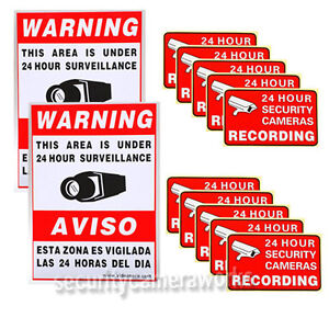 10 Home CCTV Surveillance Security Camera Video Sticker Warning Decal Signs BKG