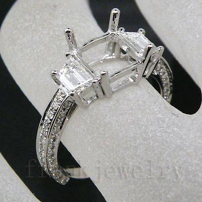 Princess Cut 7x7mm Platinum PT900 Natural Diamond Setting Engagement Ring CT080 on Rummage