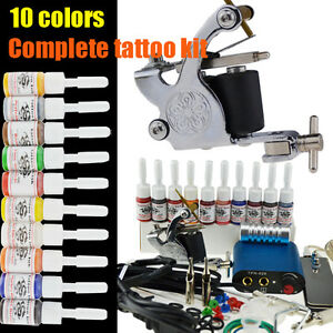 Complete-Tattoo-Kit-Machine-Gun-10-Color-Inks-Power-Supply-k-4