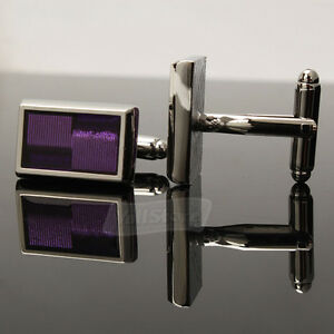 New-Elegant-Purple-Rectangle-Cufflinks-Mens-Gift-Party-Wedding-Cuff-Links