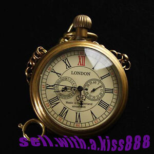 NEW-Antique-Style-Three-dials-Five-Hands-1856S-LONDON-Brass-Pocket-Watch