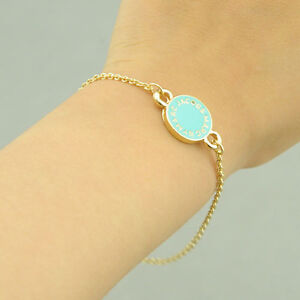 2012-New-Marc-by-M-Jacobs-Cute-Blue-Logo-Disk-Gold-Bangle-Bracelet