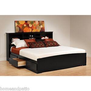 Black 6 Drawer King Size Platform Storage Bed Bookcase