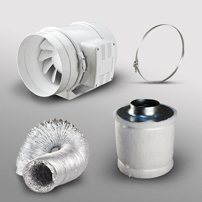 """12"""" In Line Fan Carbon Filter & Duct Kit - Hydroponic Grow Room Tent Ventilation"""