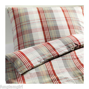 ikea benzy plaid twin size quilt duvet cover set new ebay. Black Bedroom Furniture Sets. Home Design Ideas