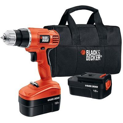 Black & Decker 18V Drill with 2 Batteries & Storage Bag - GCO18SB-2 on Rummage