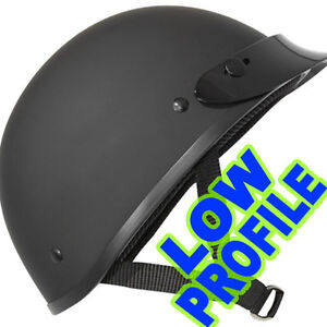 ULTRA-SLIM-LOW-PROFILE-DOT-Motorcycle-Half-Helmet-FLAT-Matte-BLACK-Outlaw-AX4000