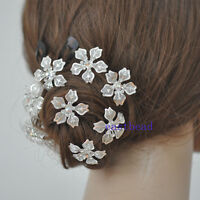 Bride Wedding/Prom  Crystal Flower Hairpin