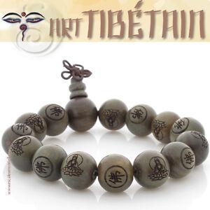 bracelet rustique artisanat tib tain mala bois de santal porte bonheur bouddha ebay. Black Bedroom Furniture Sets. Home Design Ideas
