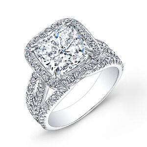 5 30 CT Halo Cushion CUT French Micro Pave Diamond ...