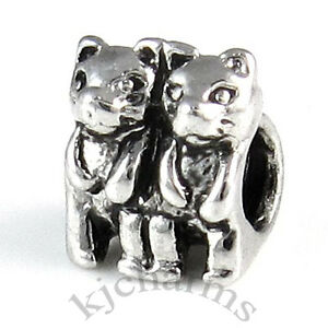 Two-Kitten-Cats-Silver-European-Spacer-Charm-Bead-For-Bracelet-Necklace-EB17